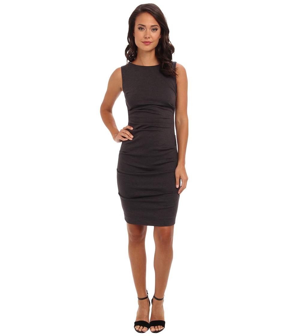 Nicole Miller Ponte Sleeveless Tucked Dress