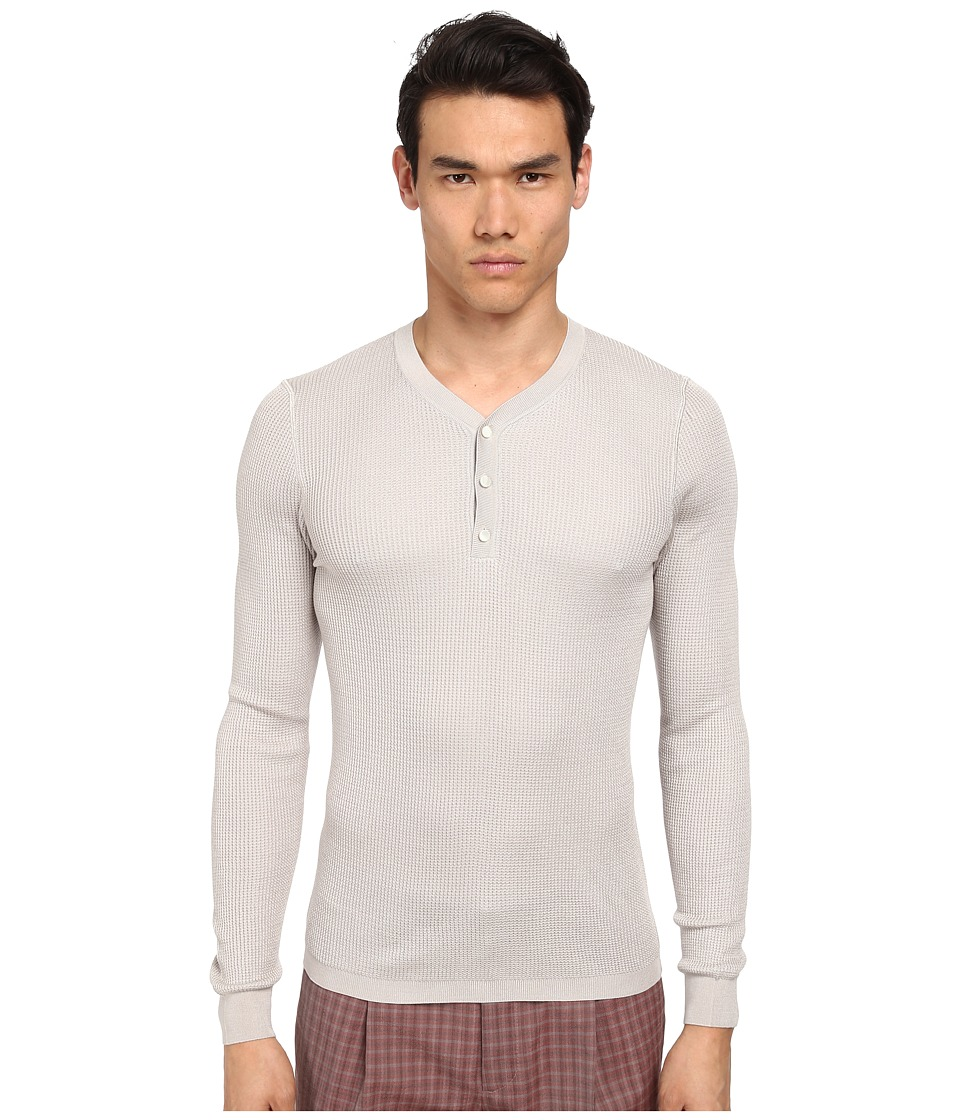 Marc Jacobs - Solid Silk Thermal Henley (Grey Melange) Men's Long Sleeve Pullover