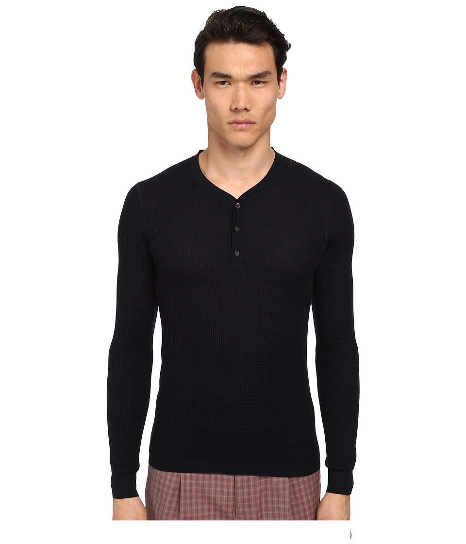 Marc Jacobs - Solid Silk Thermal Henley (Midnight) Men