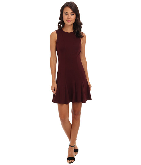 Nicole Miller - Ponte A-Line Dress (Burgundy) Women's Dress