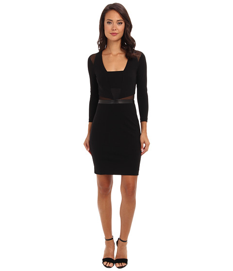 Nicole Miller - Jersey Mesh Insert Dress (Black) Women's Dress