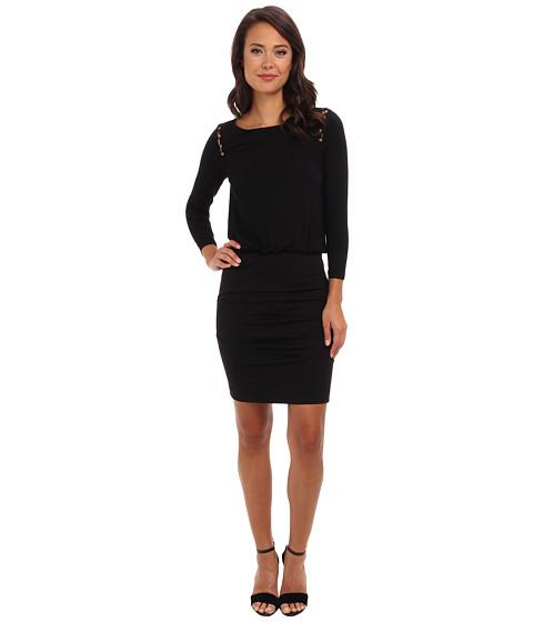 Nicole Miller - Button Shoulder Dress (Black) Women