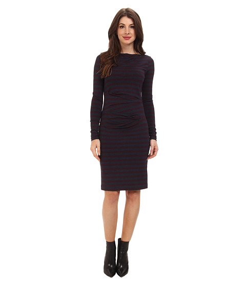 Nicole Miller - Quinn Striped Jersey Dress (Wine/Charcoal) Women's Dress