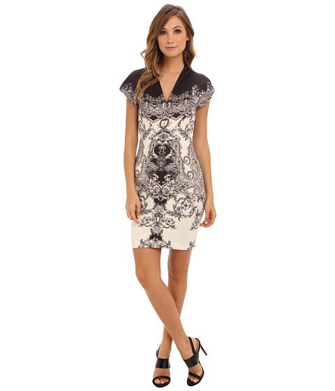 Nicole Miller - Flourish Neoprene Dress (Black/Ivory) Women