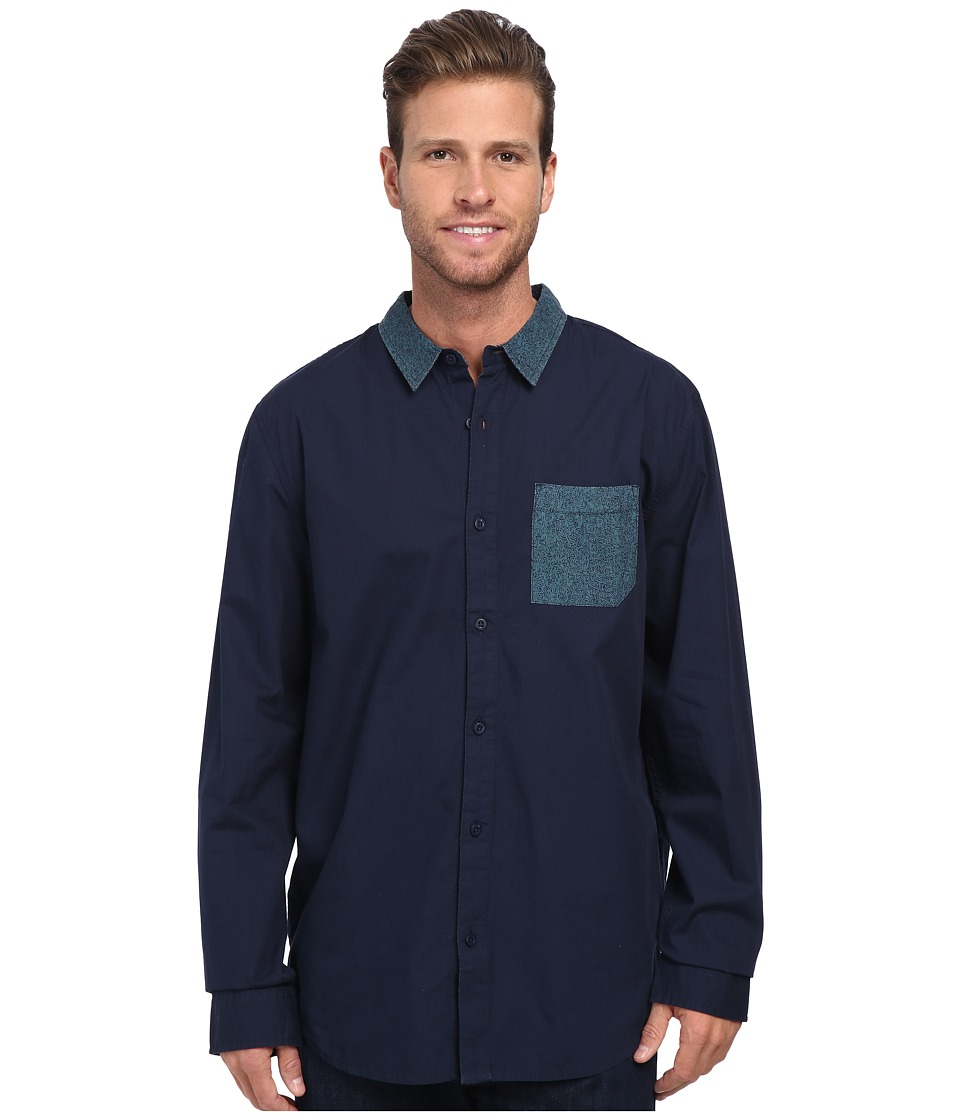 Tavik - Barton Shirt (Indigo) Men's Long Sleeve Button Up