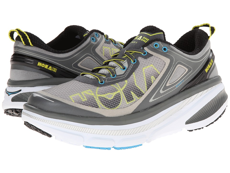 Hoka One One - Bondi 4 (Grey/Citrus/Cyan) Men's Running Shoes