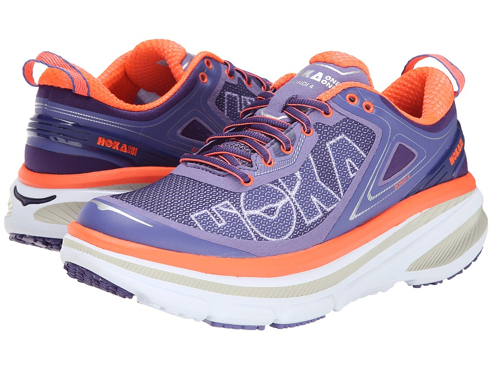Hoka One One - Bondi 4 (Corsican Blue/Neon Coral) Women's Running Shoes