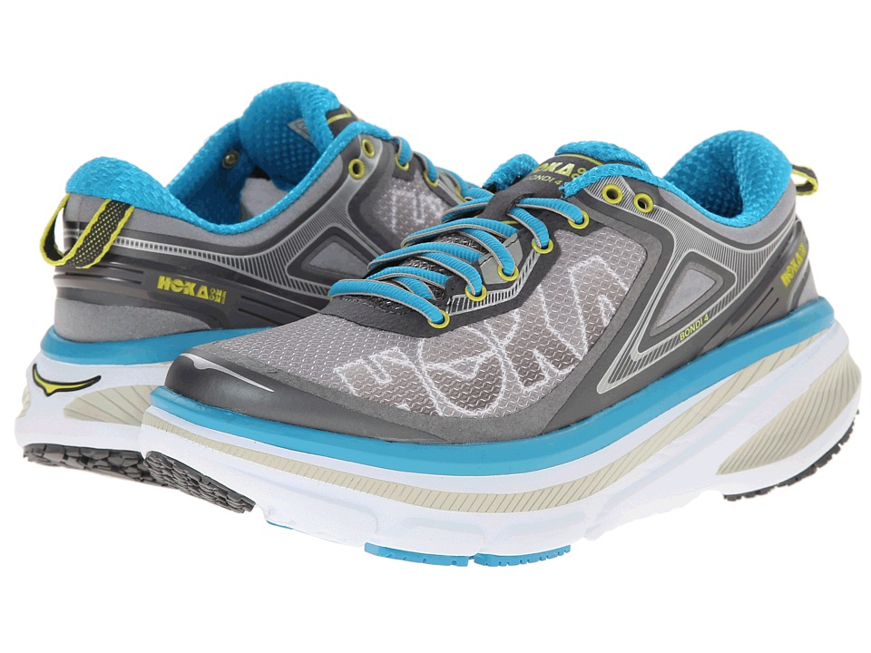 Hoka One One - Bondi 4 (Grey/Hawaiian Ocean) Women's Running Shoes