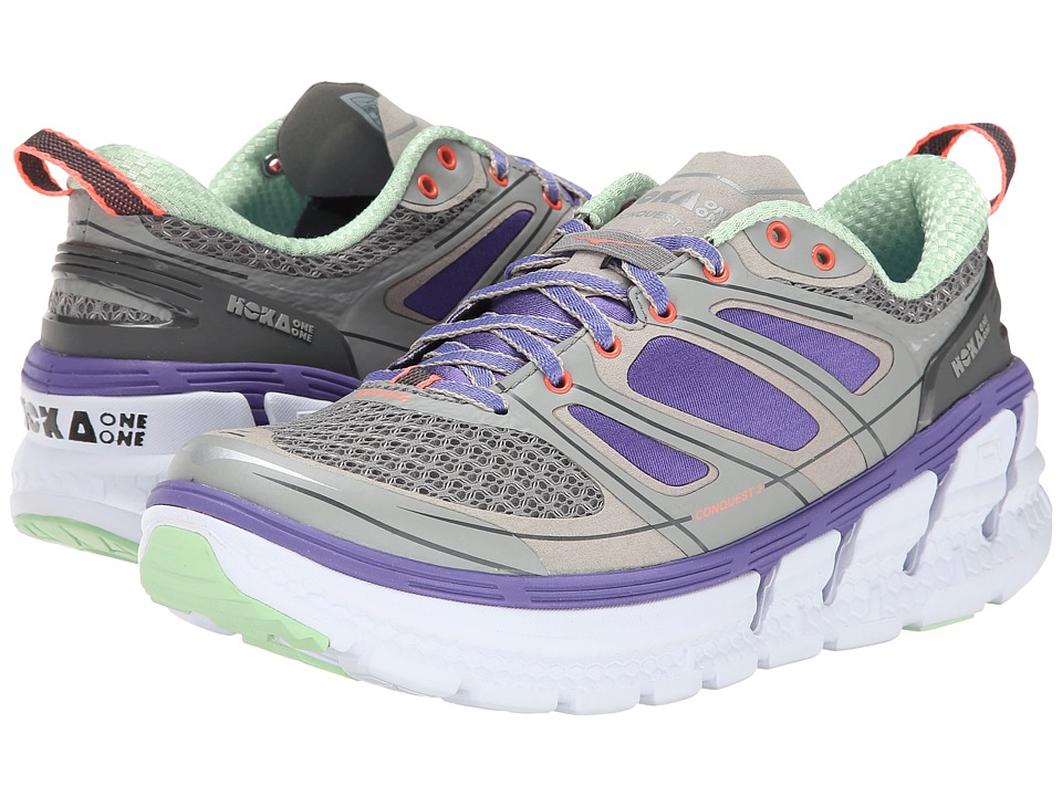 Hoka One One Conquest 2 (Grey/Blue/Neon Coral) Women