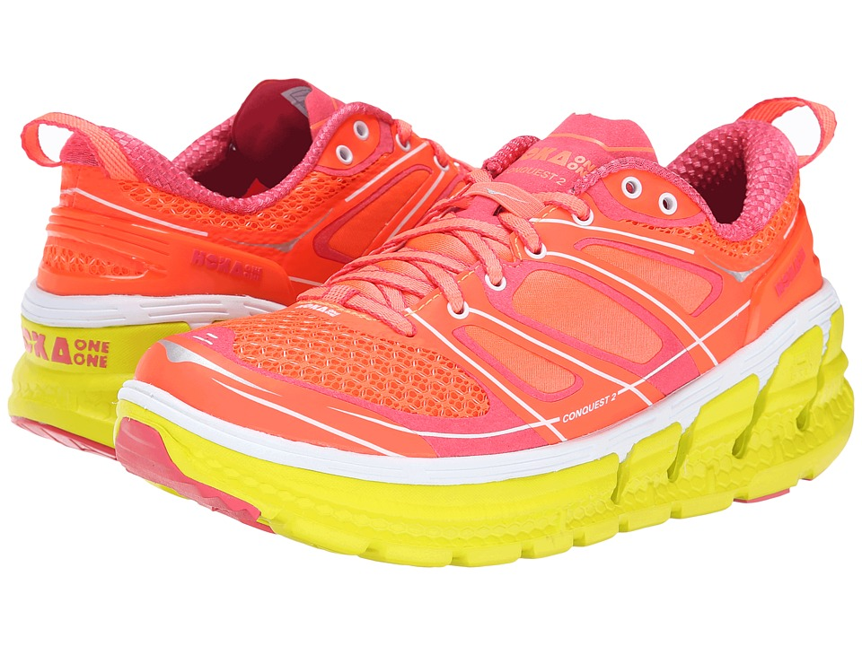 Hoka One One - Conquest 2 (Neon Coral/Citrus) Women's Running Shoes