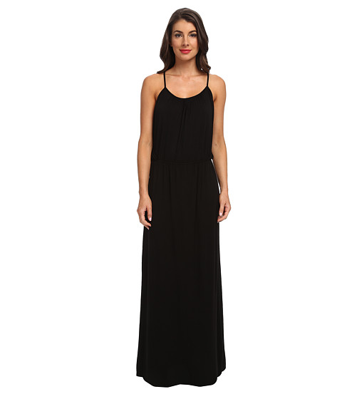 LAmade - T-Back Drape Maxi Dress (Black) Women