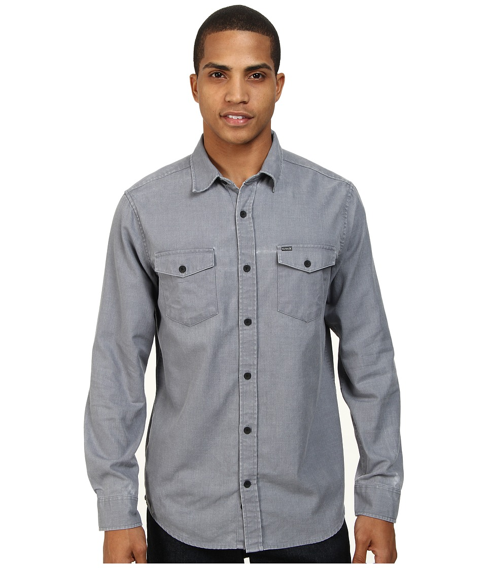 Hurley - Burn L/S Woven (Cool Grey) Men's Long Sleeve Button Up