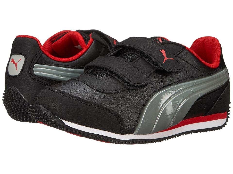 Puma Kids Speed Light Up V (Toddler/Little Kid/Big Kid) (Black/Limestone Grey/High Risk Red) Boys Shoes