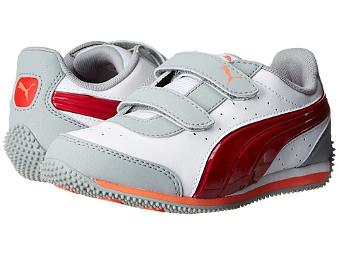 Puma Kids - Speed Light Up V (Toddler/Little Kid/Big Kid) (White/Limestone Gray/High Risk Red) Boys Shoes