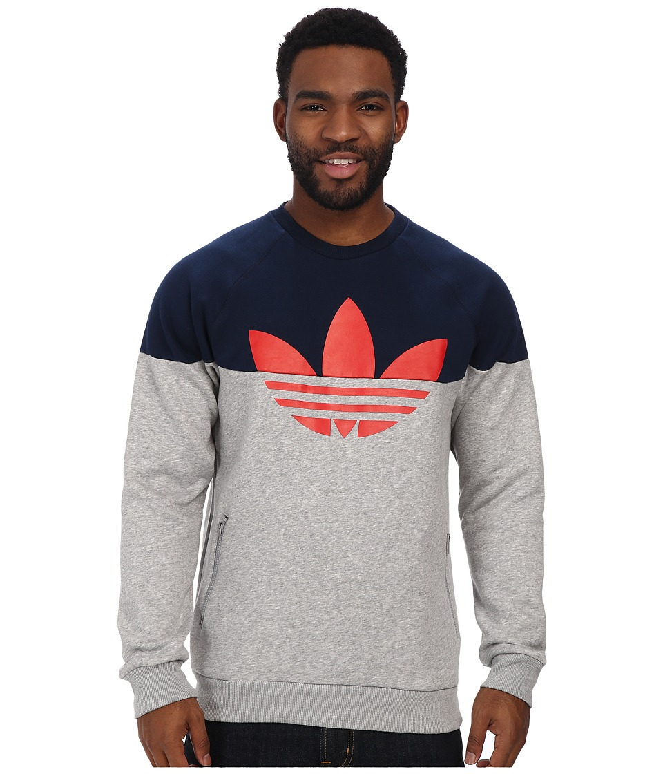 adidas Originals - Duo Trefoil Crew (Medium Grey Heather/Collegiate Navy/Red) Men