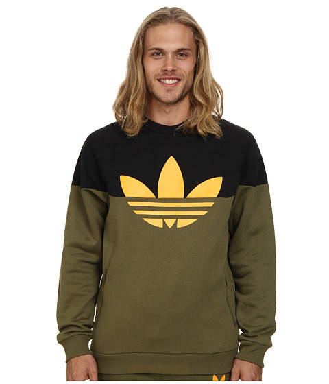 adidas Originals - Duo Trefoil Crew (Olive Cargo/Black/Collegiate Gold) Men's Sweater