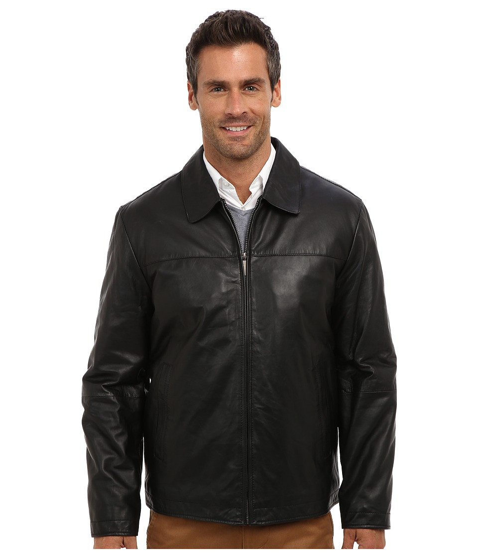 Perry Ellis - Leather Bomber Jacket EP620330 (Black) Men's Coat