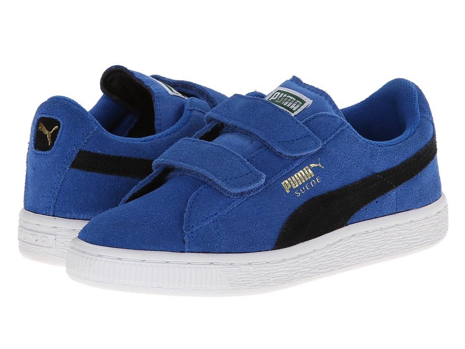 Puma Kids - Suede 2 Straps (Toddler/Little Kid/Big Kid) (Strong Blue/Black) Kids Shoes