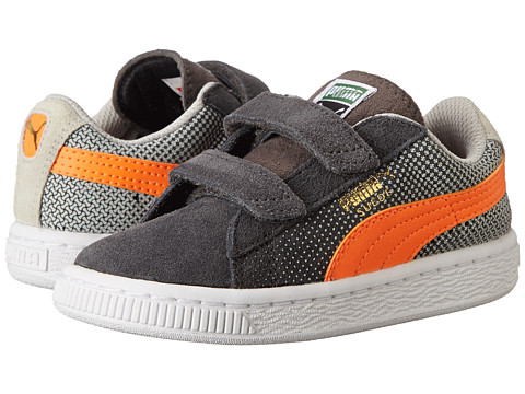 Puma Kids - Suede Shades V (Toddler/Little Kid/Big Kid) (Dark Shadow/Grey Violet/Fluorescent Flash Orange) Boys Shoes