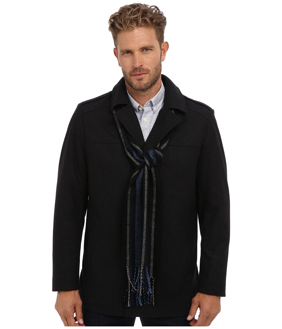 Perry Ellis - Wool Blend Coat w/ Scarf EP822233 (Charcoal) Men's Coat