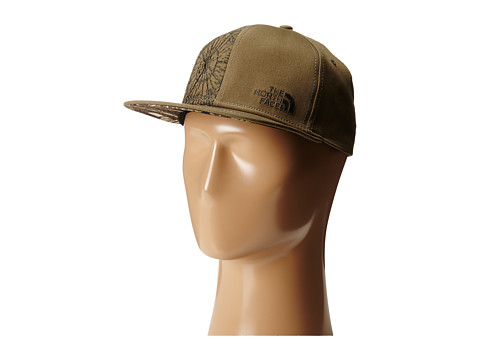 The North Face - Stitch Right Flat Brim Hats (Burnt Olive Green/Black Ink Green) Caps