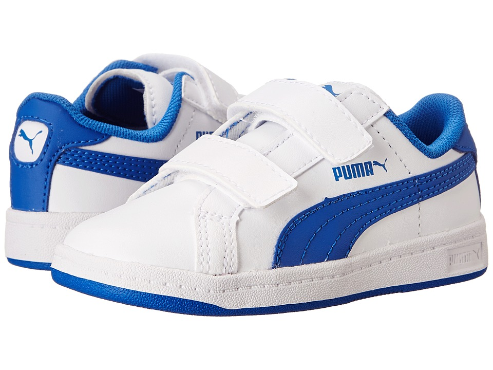 Puma Kids - Smash L V (Toddler/Little Kid/Big Kid) (White/Strong Blue) Boys Shoes