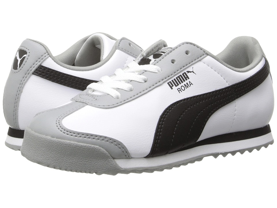 Puma Kids - Roma Basic (Toddler/Little Kid) (White/Black/Limestone Grey) Boys Shoes