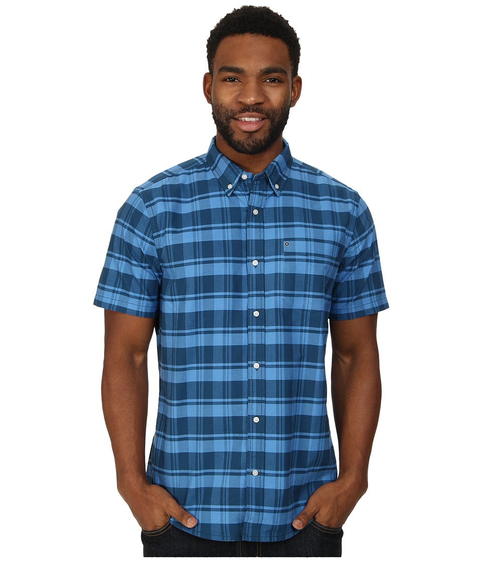 Hurley - Ace Oxford Plaid S/S (Blue Force) Men's Short Sleeve Button Up