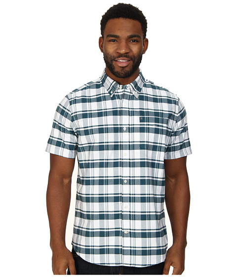 Hurley - Ace Oxford Plaid S/S (Teal) Men's Short Sleeve Button Up