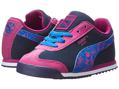 Puma Kids - Roma Splatter (Toddler/Little Kid) (Peacoat/Vivid Viola/Strong Blue) Girls Shoes