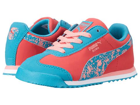 Puma Kids - Roma Splatter (Toddler/Little Kid) (Geranium/Capri Breeze/Salmon Rose) Girls Shoes