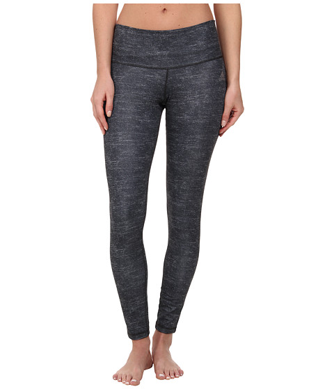 adidas - Performer Mid-Rise Long Tight - Static Print (Dark Grey Print/Matte Silver) Women