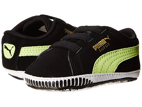 Puma Kids - Suede Crib (Infant/Toddler) (Black/Sharp Green) Boy