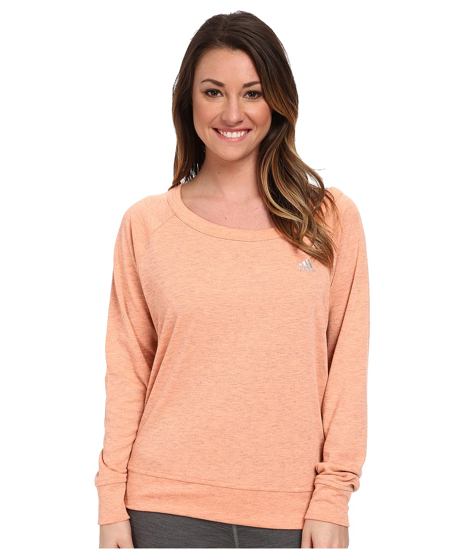 adidas - 2Love Derby Crew Top (Flash Orange Heather/Matte Silver) Women's Long Sleeve Pullover