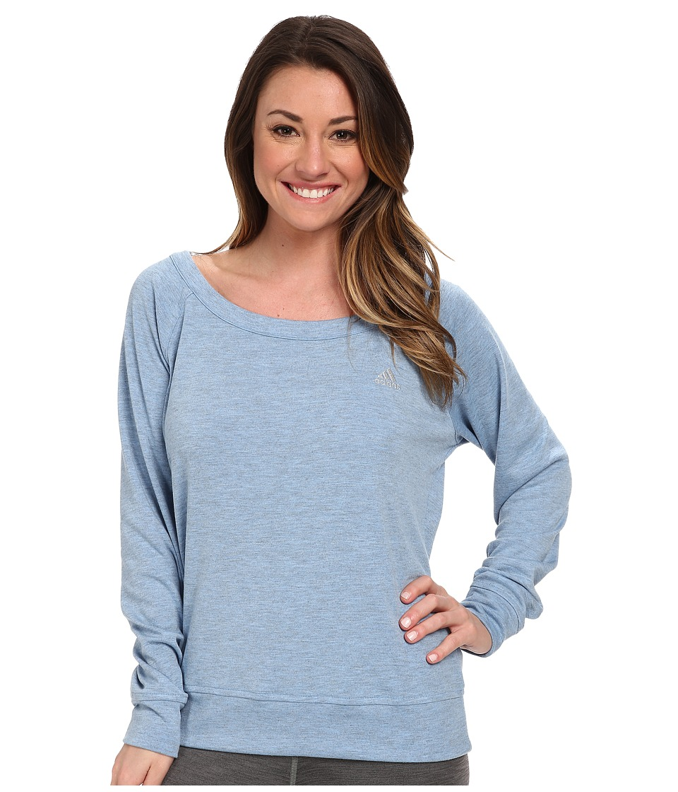 adidas - 2Love Derby Crew Top (Lucky Blue Heather/Matte Silver) Women's Long Sleeve Pullover