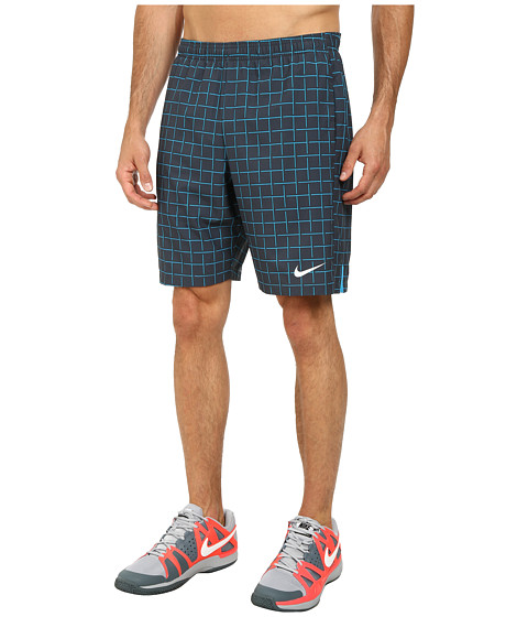 Nike - Court Plaid 9 Short (Classic Charcoal/Light Blue Lacquer) Men's Shorts