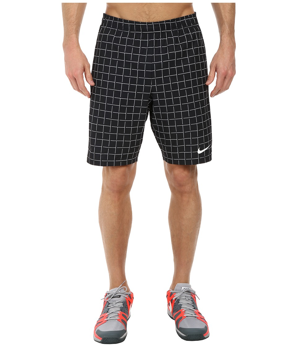 Nike - Court Plaid 9 Short (Black/Black/White Multi Snake) Men