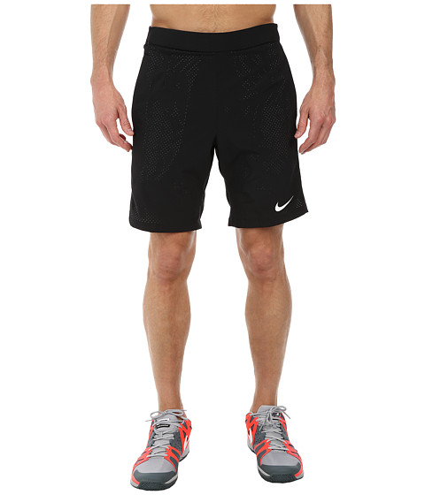 Nike - Gladiator 2-in-1 9 Short (Black/Black/White Multi Snake) Men