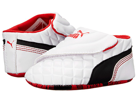 Puma Kids - Drift Cat 6 LW Crib (Infant/Toddler) (White/Black/High Risk Red) Boys Shoes