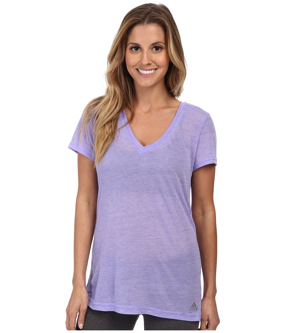 adidas - Boyfriend Deep V-Neck Tee (Light Flash Purple/Night Flash/Matte Silver) Women's T Shirt