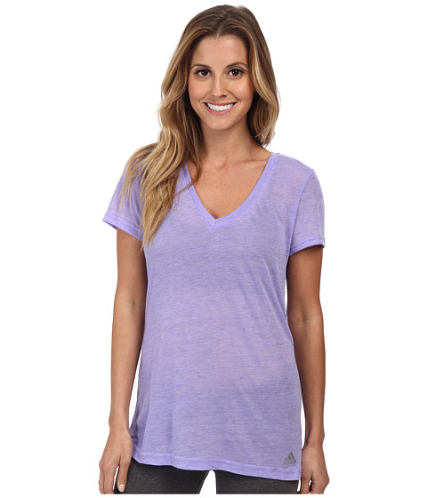 adidas - Boyfriend Deep V-Neck Tee (Light Flash Purple/Night Flash/Matte Silver) Women's T Shirt