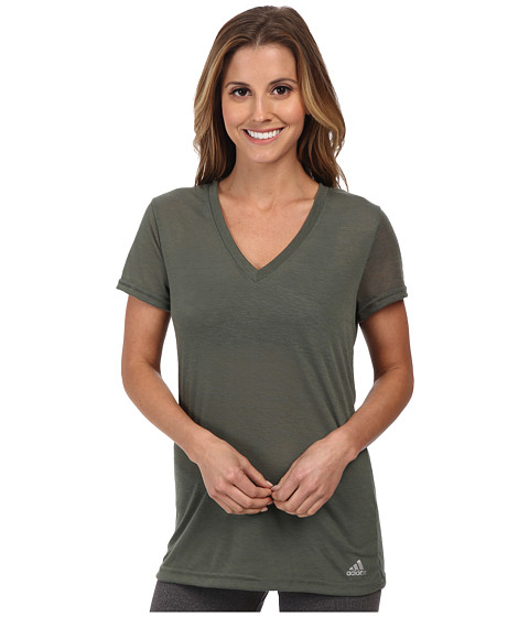 adidas - Boyfriend Deep V-Neck Tee (Base Green/Dark Grey/Matte Silver) Women
