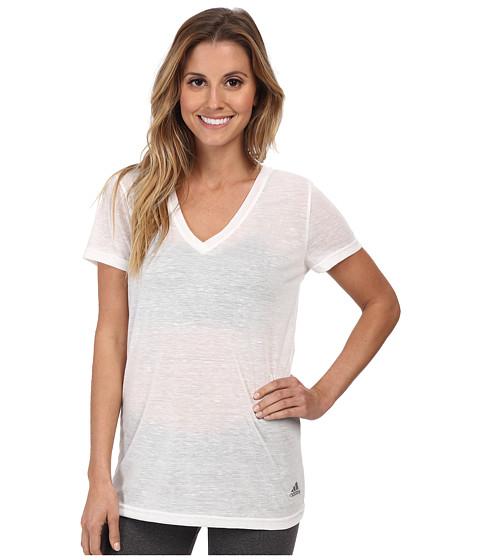 adidas - Boyfriend Deep V-Neck Tee (White/Matte Silver) Women's T Shirt