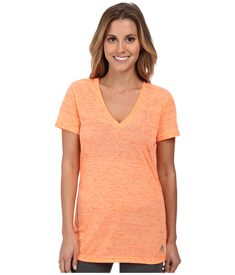adidas - Boyfriend Deep V-Neck Tee (Flash Orange/Semi Solar Red/Matte Silver) Women
