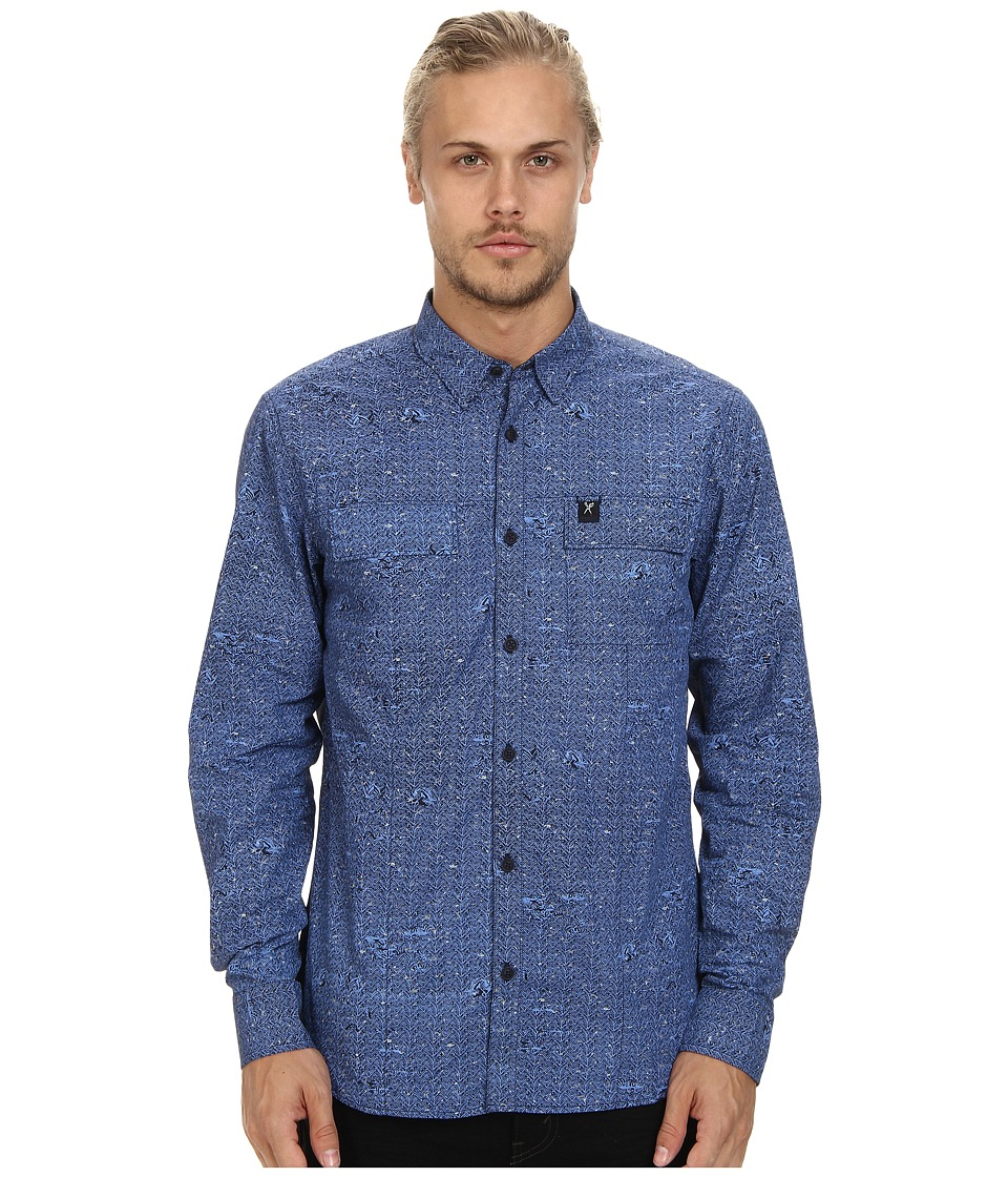 Marc Ecko Cut & Sew - Herringbone L/S Woven (Navy) Men's Long Sleeve Button Up