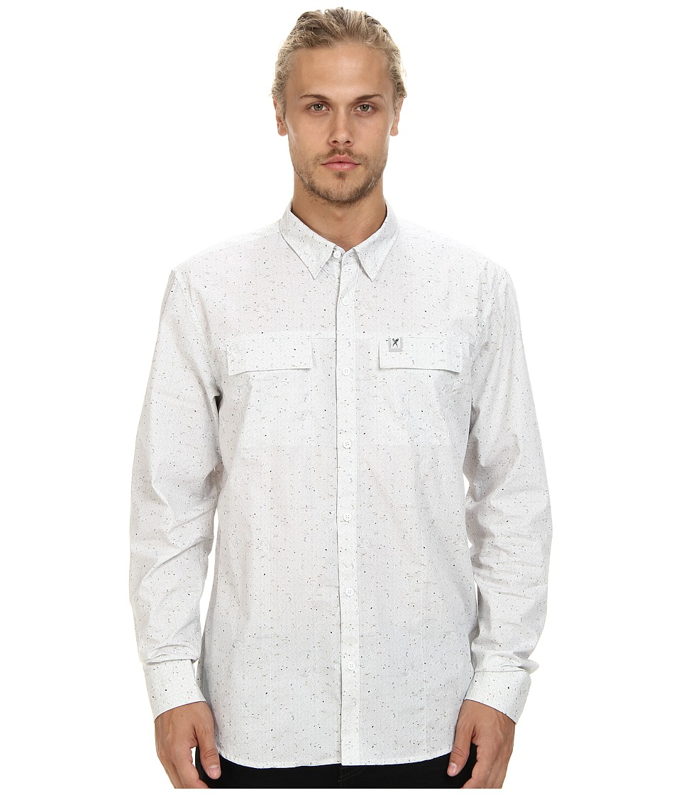Marc Ecko Cut & Sew - Herringbone L/S Woven (White) Men's Long Sleeve Button Up
