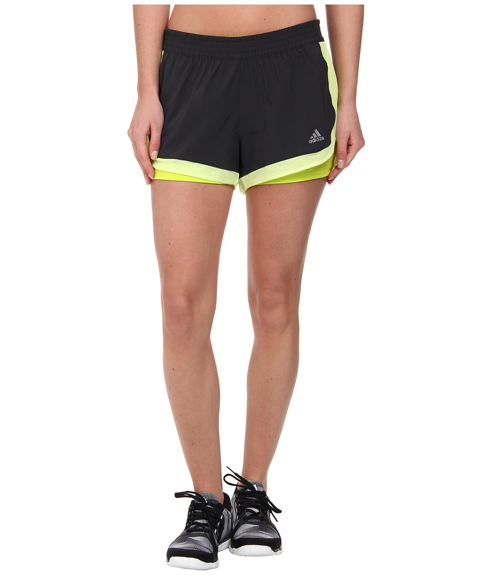 adidas - 2-in-1 Woven Short (Dark Grey/Light Flash Yellow/Semi Solar Yellow) Women