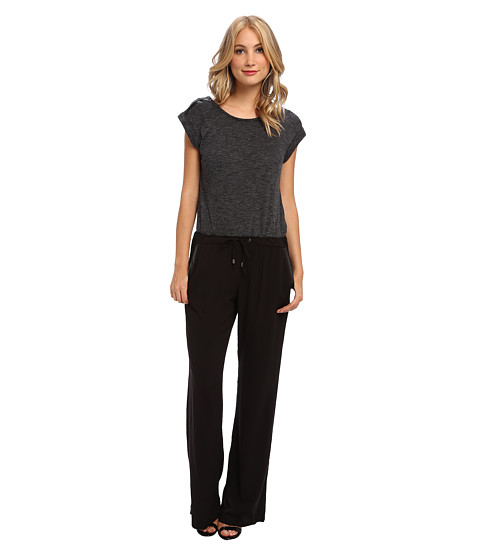 Splendid - Mixed Media Jumpsuit (Charcoal) Women