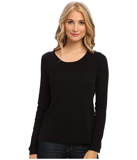 Splendid - Thermal Pullover Top (Black) Women's Long Sleeve Pullover