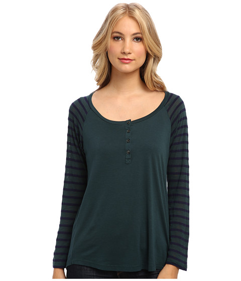Splendid - Stripe Henley (Evergreen) Women's Clothing